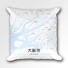 Map Throw Pillow of Osaka Japan - Modern Ski Map
