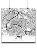 Premium Map Poster of Paris France - Modern Black Ink - Unframed