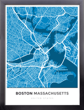 Framed Map Poster of Boston Massachusetts - Simple Blue Contrast - Boston Map Art