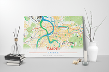 Gallery Wrapped Map Canvas of Taipei Taiwan - Modern Colorful