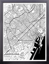 Framed Map Poster of Barcelona Spain - Subtle Black Ink