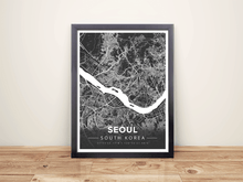 Framed Map Poster of Seoul South Korea - Modern Contrast
