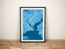 Premium Map Poster of Istanbul Turkey - Subtle Blue Contrast - Unframed