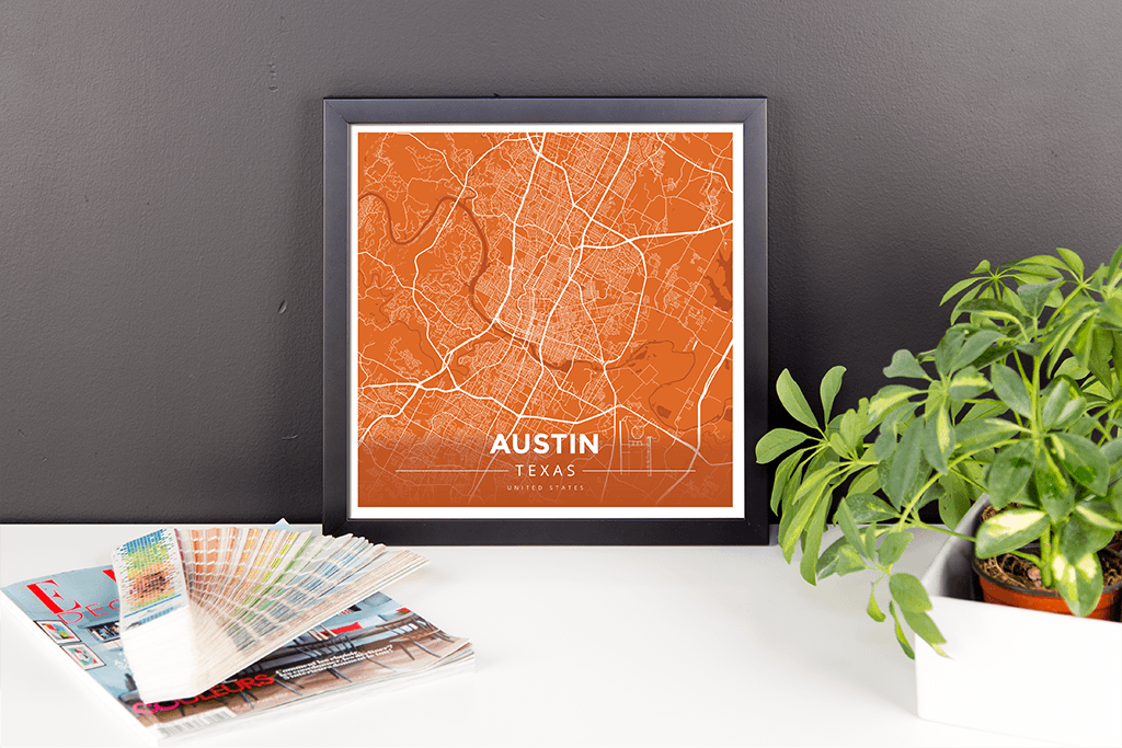 Framed Map Poster of Austin Texas - Modern Burnt - Austin Map Art