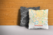 Map Throw Pillow of Bangkok Thailand - Modern Colorful