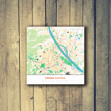 Gallery Wrapped Map Canvas of Vienna Austria - Simple Colorful