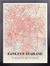 Framed Map Poster of Bangkok Thailand - Diner Retro - Bangkok Map Art
