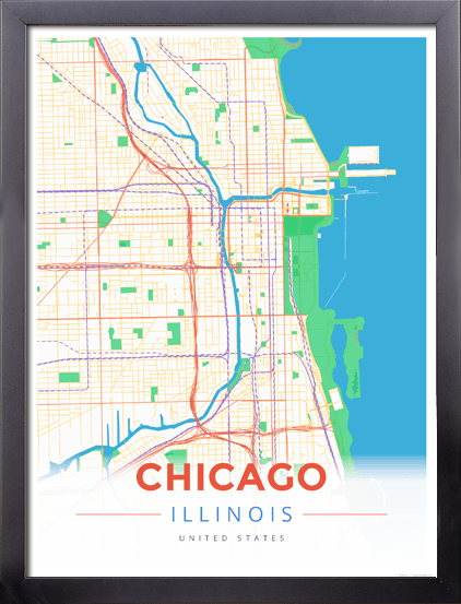 Framed Map Poster of Chicago Illinois - Modern Colorful - Chicago Map Art
