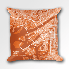 Map Throw Pillow of Osaka Japan - Subtle Burnt