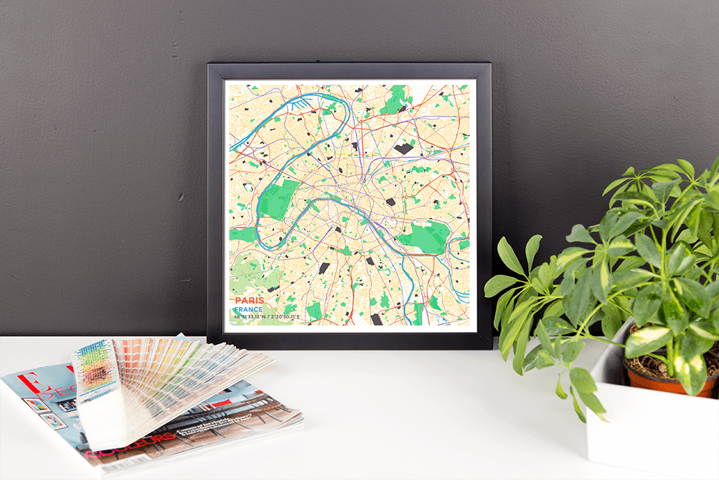 Framed Map Poster of Paris France - Subtle Colorful
