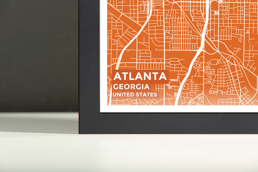 Framed Map Poster of Atlanta Georgia - Subtle Burnt - Atlanta Map Art