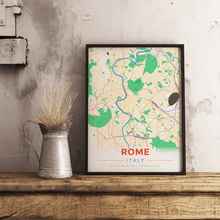 Premium Map Poster of Rome Italy - Modern Colorful - Unframed