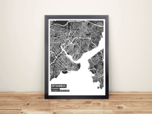 Framed Map Poster of Istanbul Turkey - Subtle Contrast
