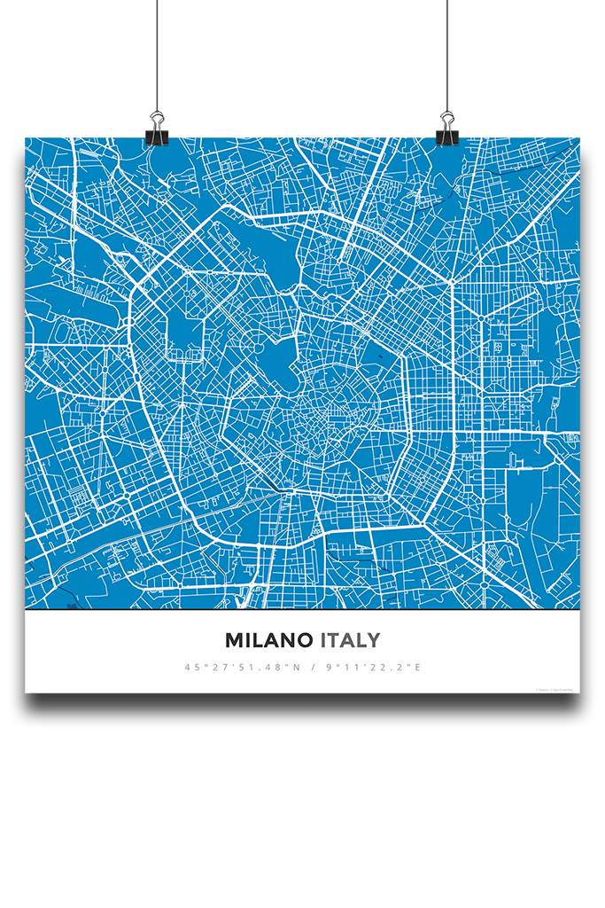 Premium Map Poster of Milano Italy - Simple Blue Contrast - Unframed