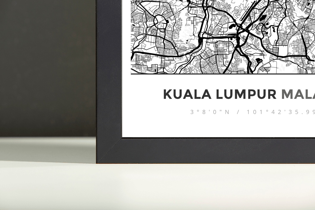 Framed Map Poster of Kuala Lumpur Malaysia - Simple Black Ink