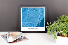 Framed Map Poster of Barcelona Spain - Simple Blue Contrast