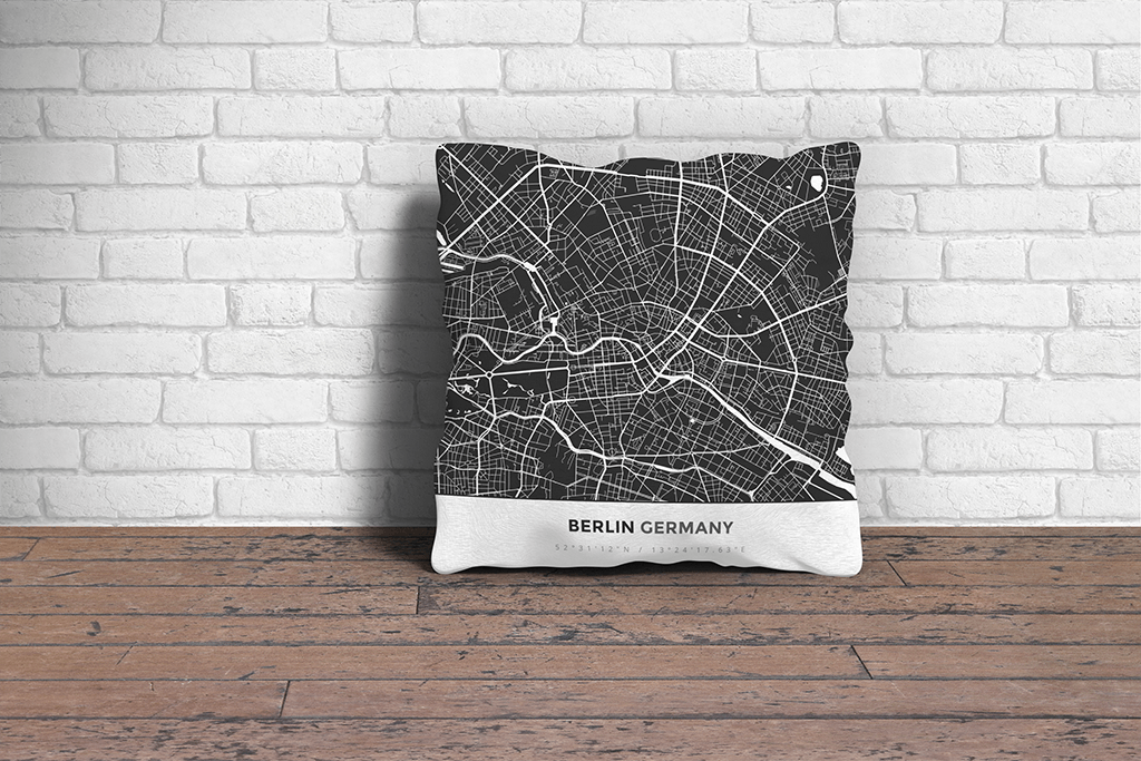 Map Throw Pillow of Berlin Germany - Simple Contrast - Berlin Map Art