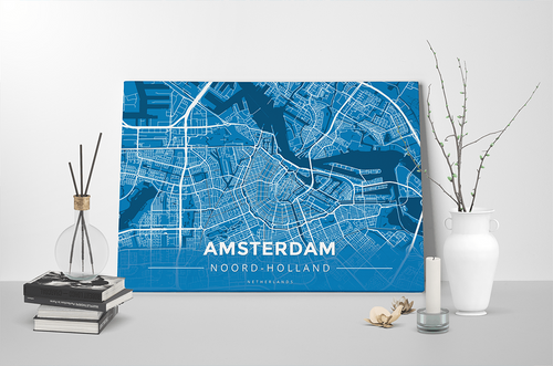 Gallery Wrapped Map Canvas of Amsterdam Noord-Holland - Modern Blue Contrast