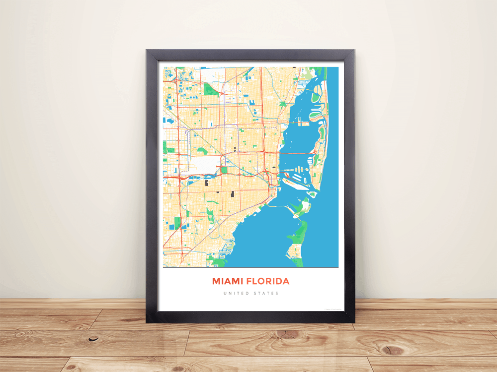 Framed Map Poster of Miami Florida - Simple Colorful - Miami Map Art