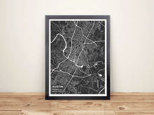 Framed Map Poster of Austin Texas - Subtle Contrast - Austin Map Art