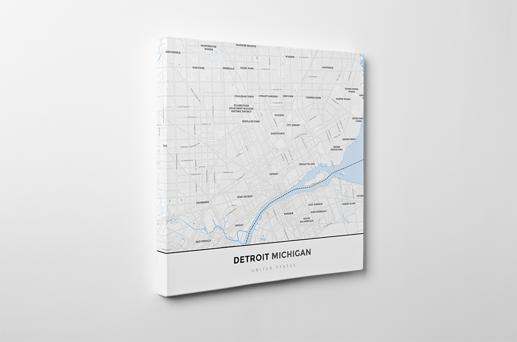 Gallery Wrapped Map Canvas of Detroit Michigan - Simple Ski Map - Detroit  Map Art