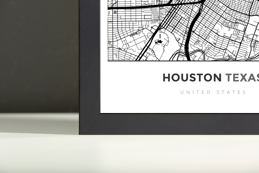 Framed Map Poster of Houston Texas - Simple Black Ink - Houston Map Art