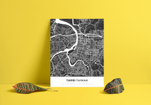 Premium Map Poster of Taipei Taiwan - Simple Contrast - Unframed