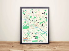Framed Map Poster of Berlin Germany - Subtle Colorful - Berlin Map Art