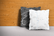 Map Throw Pillow of Rome Italy - Subtle Ski Map