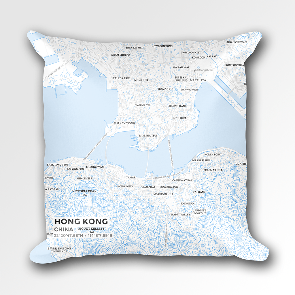 Map Throw Pillow of Hong Kong China - Subtle Ski Map