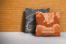 Map Throw Pillow of Hong Kong China - Modern Burnt