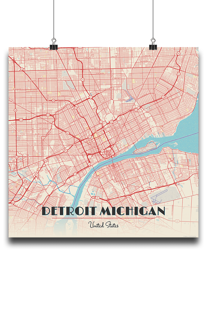 Premium Map Poster Of Detroit Michigan Map Art Travel Decor