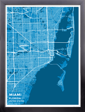 Framed Map Poster of Miami Florida - Subtle Blue Contrast - Miami Map Art