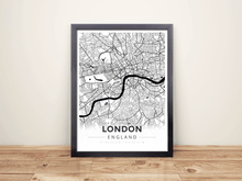 Framed Map Poster of London England - Modern Black Ink