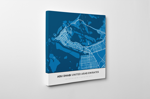 Gallery Wrapped Map Canvas of Abu Dhabi United Arab Emirates - Simple Blue Contrast - Abu Dhabi Map Art