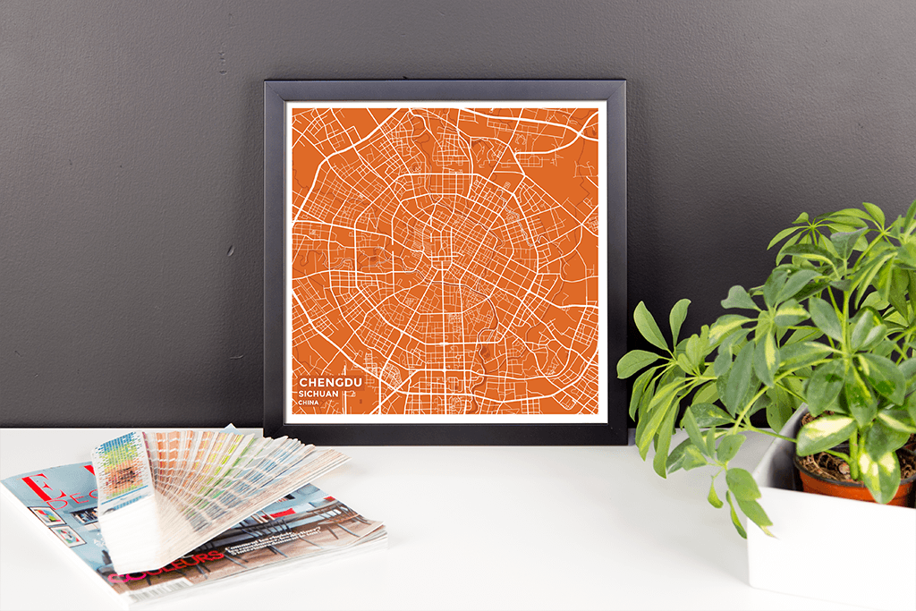 Framed Map Poster of Chengdu Sichuan - Subtle Burnt - Chengdu Map Art