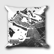 Map Throw Pillow of Abu Dhabi United Arab Emirates - Subtle Contrast - Abu Dhabi Map Art
