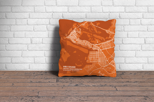 Map Throw Pillow of Abu Dhabi United Arab Emirates - Subtle Burnt - Abu Dhabi Map Art