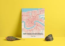 Premium Map Poster of New Orleans Louisiana - Diner Retro - Unframed - New Orleans Map Art