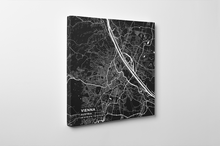 Gallery Wrapped Map Canvas of Vienna Austria - Subtle Contrast