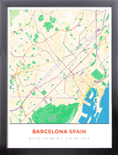 Framed Map Poster of Barcelona Spain - Simple Colorful