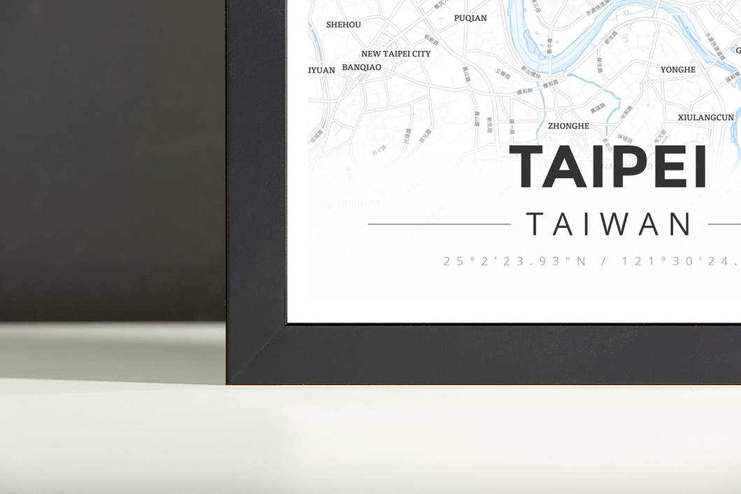 Framed Map Poster of Taipei Taiwan - Modern Ski Map