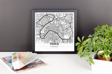 Framed Map Poster of Paris France - Modern Black Ink