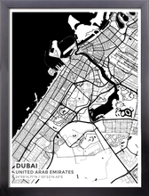 Framed Map Poster of Dubai United Arab Emirates - Subtle Black Ink