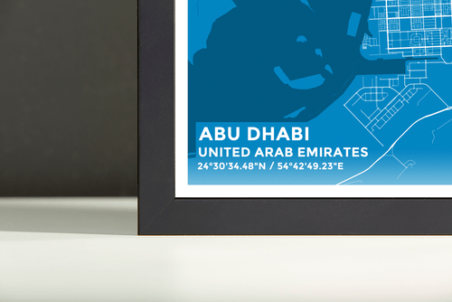Framed Map Poster of Abu Dhabi United Arab Emirates - Subtle Blue Contrast - Abu Dhabi Map Art