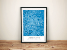 Premium Map Poster of Bangkok Thailand - Simple Blue Contrast - Unframed