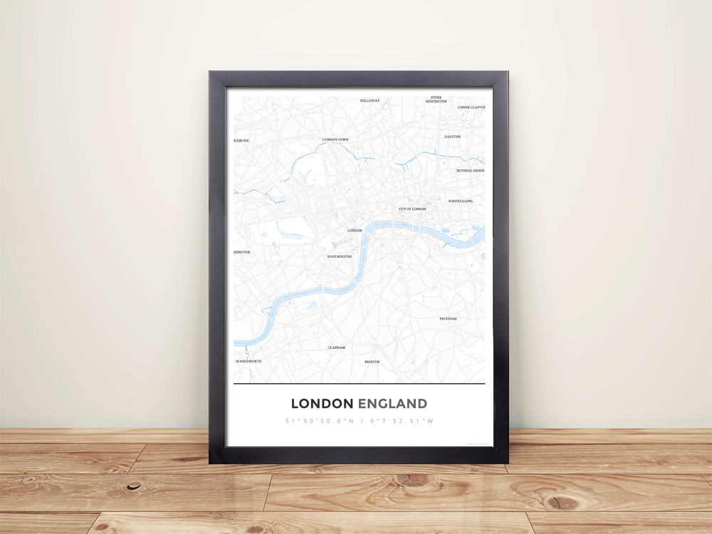 Framed Map Poster of London England - Simple Ski Map