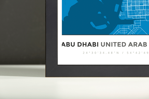 Framed Map Poster of Abu Dhabi United Arab Emirates - Simple Blue Contrast - Abu Dhabi Map Art