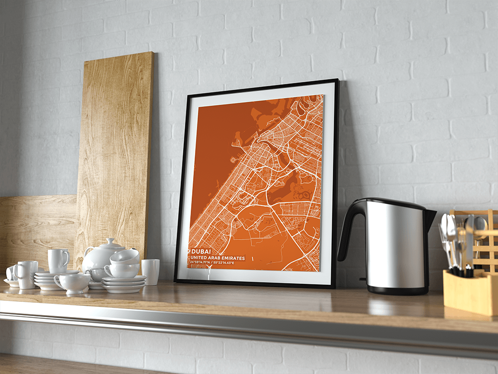 Premium Map Poster of Dubai United Arab Emirates - Subtle Burnt - Unframed