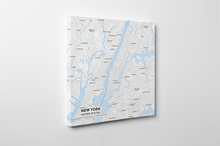 Gallery Wrapped Map Canvas of New York United States - Subtle Ski Map
